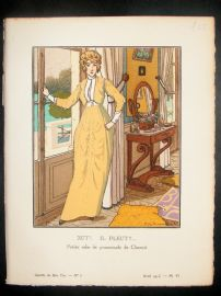 Gazette du Bon Ton by Brissaud 1913 Art Deco Pochoir. Zut! Il Pleut!!